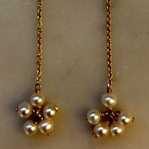 14k Gold Chain & Dangling 5-Pearl Cluster Earrings